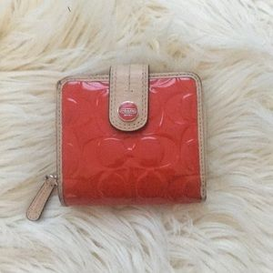 Coach red patent leather small wallet